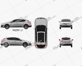 Renault Megane hatchback 2014 car clipart