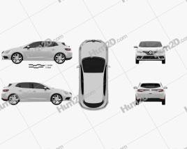 Renault Megane hatchback 2016 car clipart
