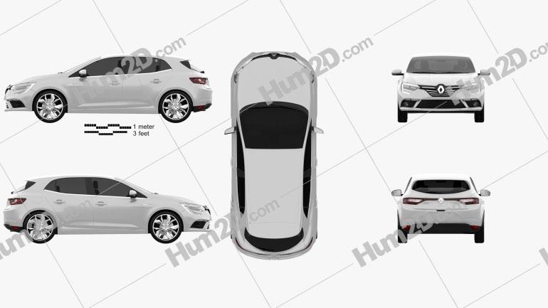 Renault Megane hatchback 2016 Imagem Clipart