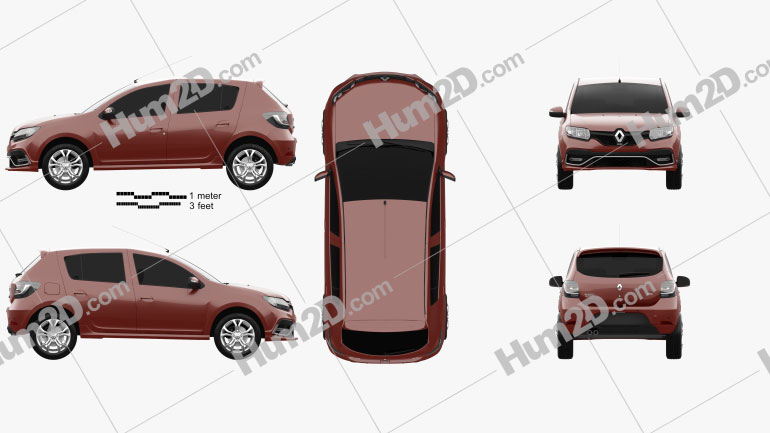 Renault Sandero RS 2015 Clipart Image