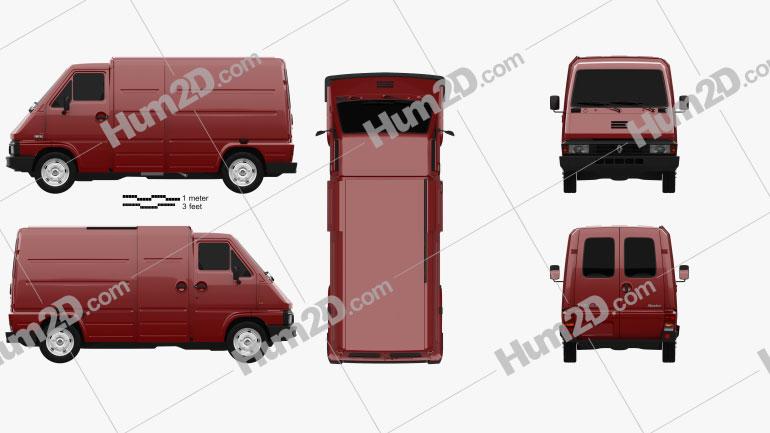 Renault Master Panel Van 1980 Clipart Image