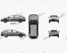 Renault Megane Estate 2012 car clipart