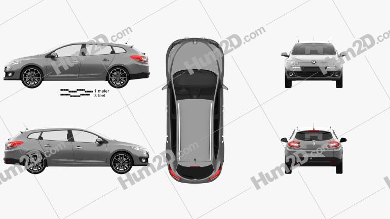 Renault Megane Estate 2012 Clipart Image
