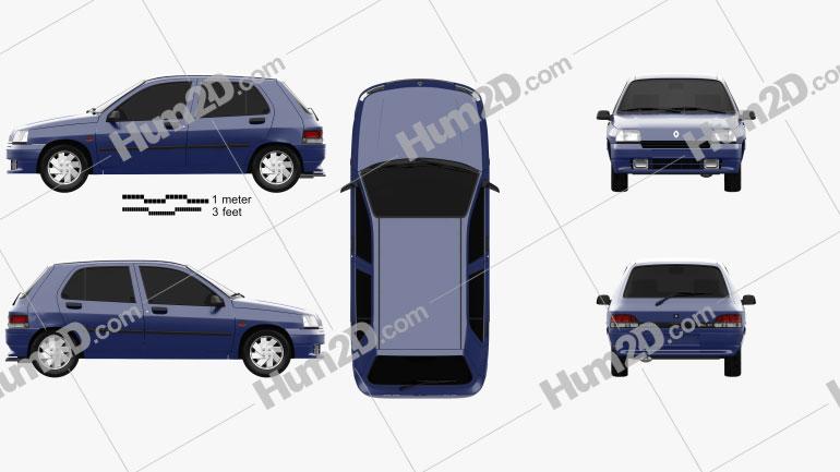 Renault Clio 5-door hatchback 1990 car clipart