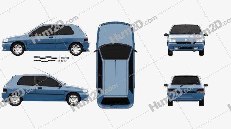 Renault Clio 3-door hatchback 1990 car clipart
