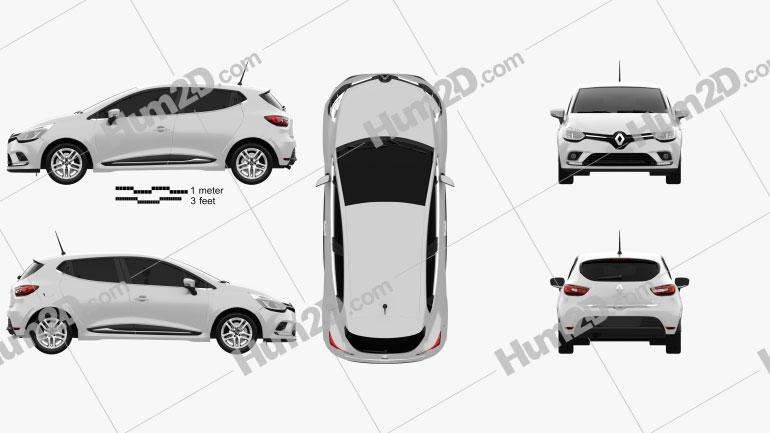 Renault Clio Business 5-door hatchback 2016 car clipart