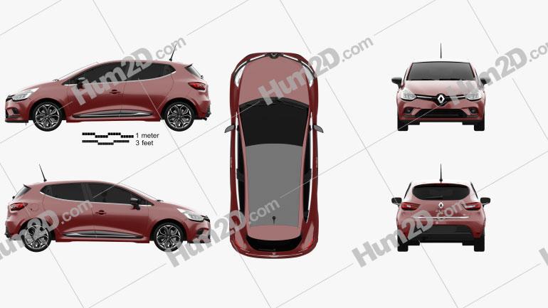 Renault Clio Edition One 5-door hatchback 2016 Clipart Image