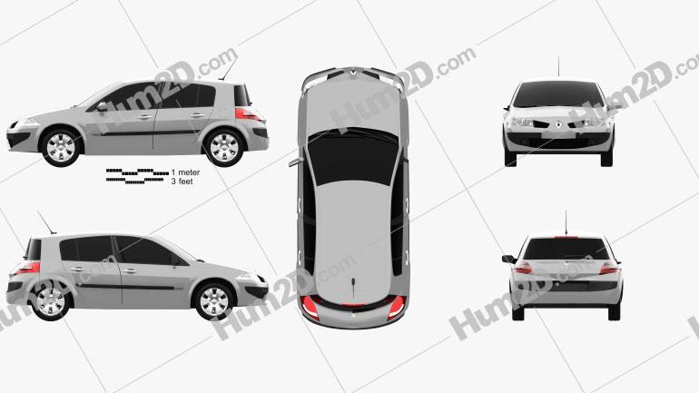 Renault Megane 5-door hatchback 2006 Clipart Image