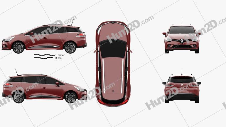 Renault Clio Signature Nav Estate 2016 Clipart Image