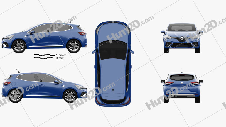 Renault Clio RS-Line hatchback 2019 car clipart