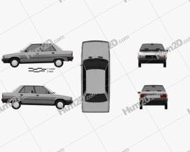 Renault 9 1983 car clipart