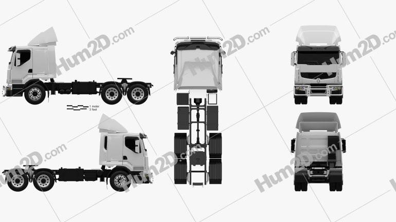 Renault Premium Lander Tractor Truck 3-axle 2006 Clipart Image