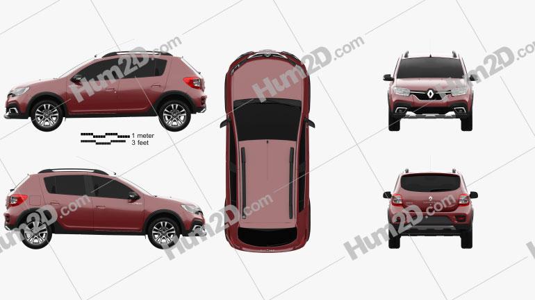Renault Sandero Stepway City CIS-spec 2018 car clipart