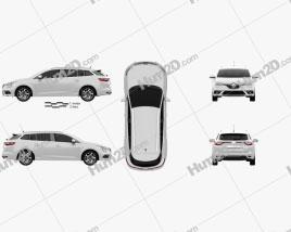 Renault Megane estate 2016 car clipart