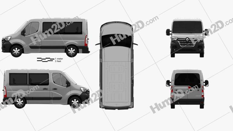 Renault Master Passenger Van L1H1 2019 clipart