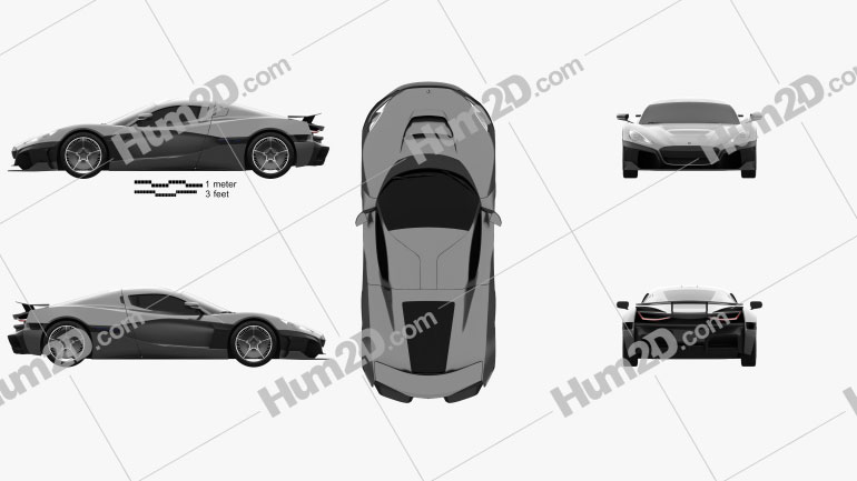 Rimac C Two 2020 car clipart