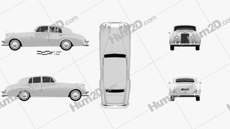 Rolls-Royce Silver Cloud II saloon 1959 car clipart