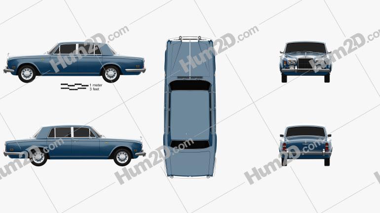 Rolls-Royce Silver Shadow 1965 car clipart