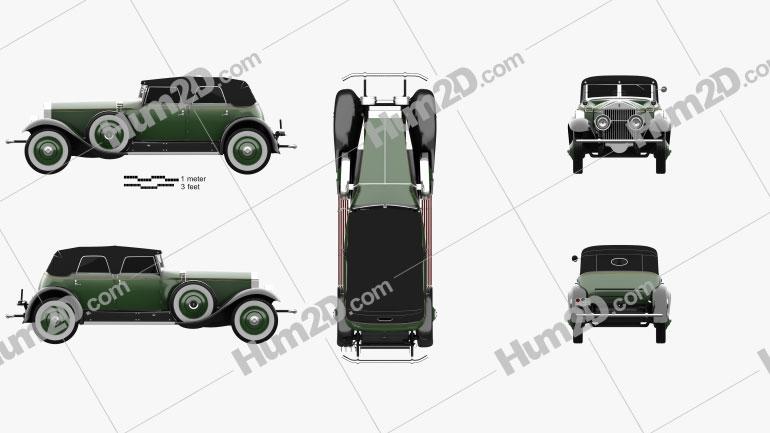 Rolls-Royce Phantom Convertible Sedan 1929 car clipart