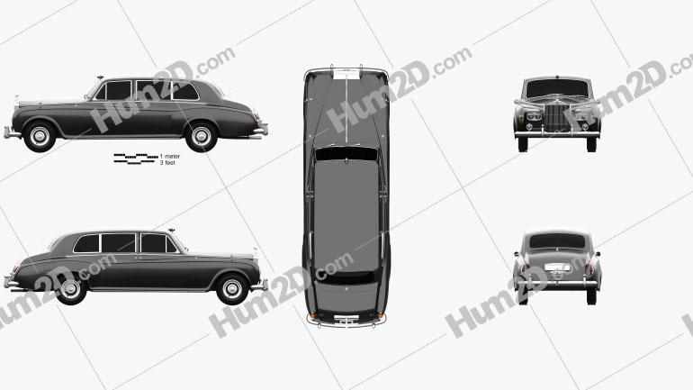 Rolls-Royce Phantom Park Ward Limousine 1963 Clipart Image