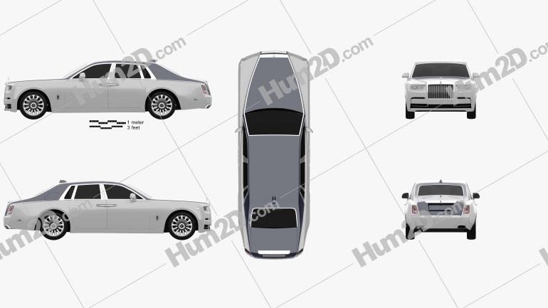 Rolls-Royce Phantom 2018 Clipart Image