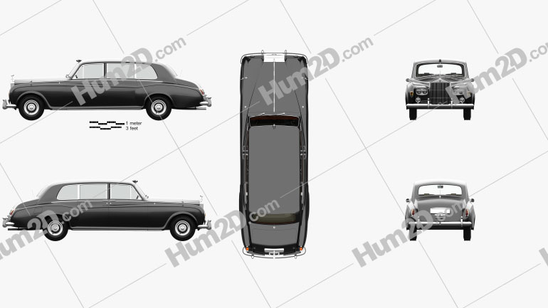 Rolls-Royce Phantom Park Ward Limousine with HQ interior 1963 car clipart