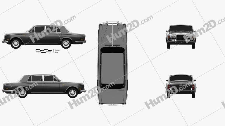 Rolls-Royce Silver Shadow LWB 1965 car clipart