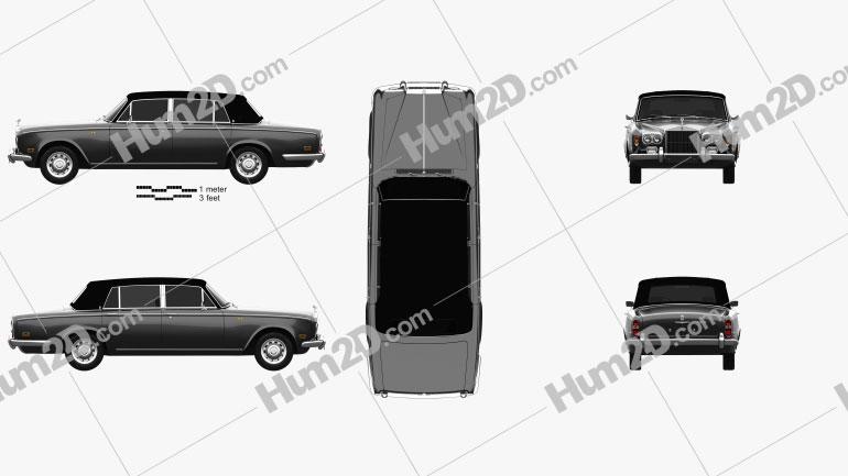 Rolls-Royce Silver Wraith LWB 1965 car clipart