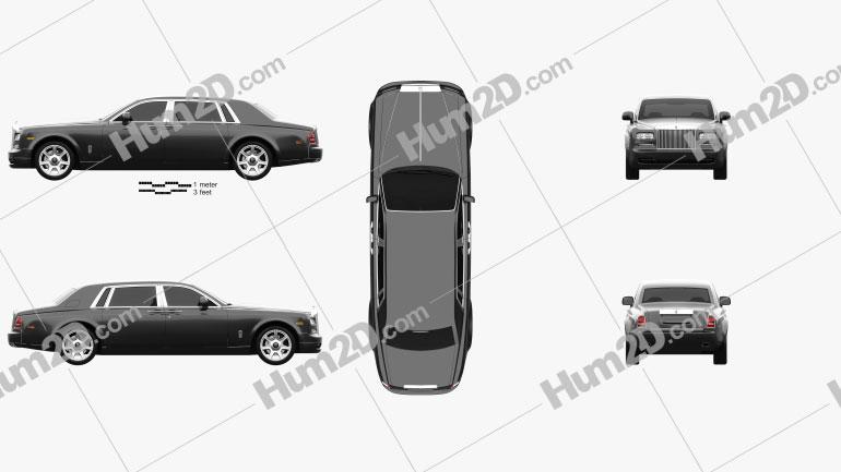 Rolls Royce Phantom EWB sedan 2012 car clipart
