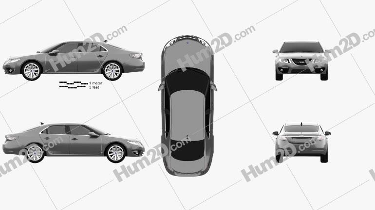 Saab 9-5 2010 car clipart