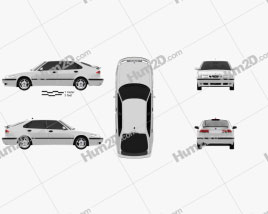 Saab 9-3 Hatchback 5-door 2001 car clipart