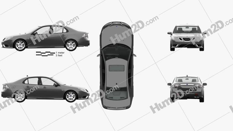 Saab 9-3 Sport Sedan with HQ interior 2008 car clipart