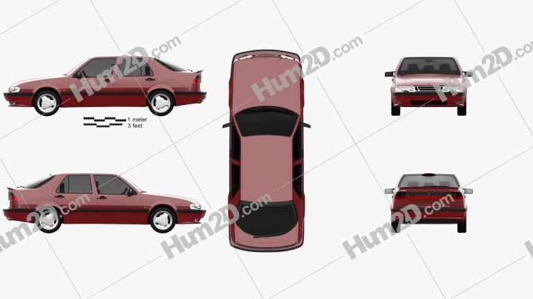 Saab 9000 Aero 1993 car clipart