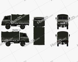 Saviem TP3 Flatbed Truck 1980 clipart