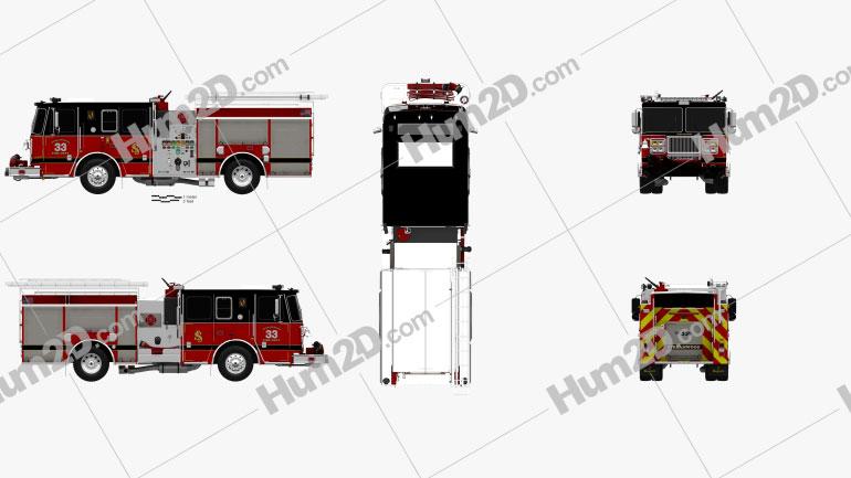 Seagrave Marauder II Fire Truck 2014 Clipart Image