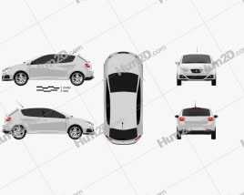 Seat Ibiza hatchback 5-door 2011 car clipart