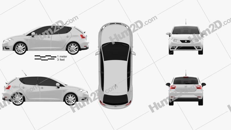 Seat Ibiza 5-door hatchback 2013 car clipart