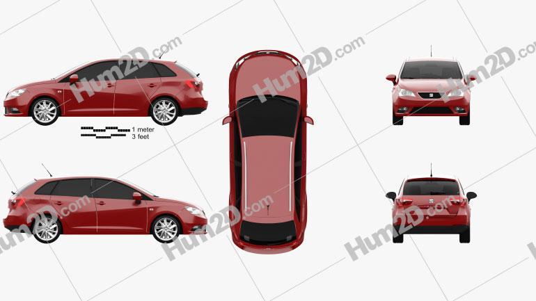 Seat Ibiza ST 2013 car clipart