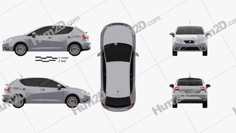 Seat Ibiza 5-door hatchback 2015 car clipart