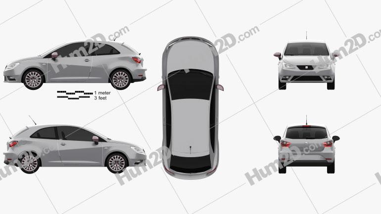 Seat Ibiza SC 2015 car clipart