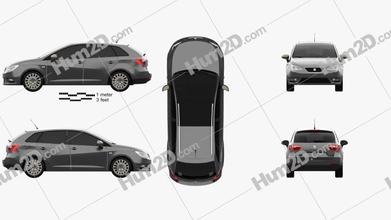 Seat Ibiza ST 2015 car clipart