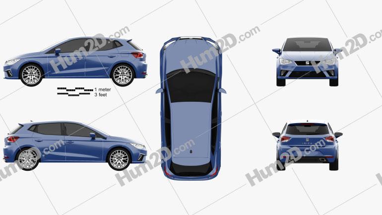 Seat Ibiza Style 2017 car clipart