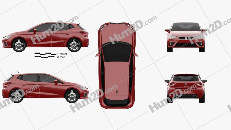 Seat Ibiza FR 2017 car clipart