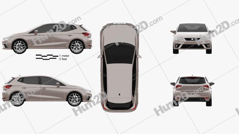 Seat Ibiza Xcellence 2017 car clipart