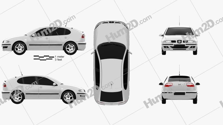 Seat Leon 1998 car clipart