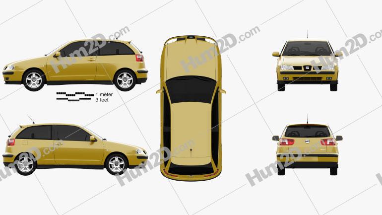 Seat Ibiza 3-door 1999 car clipart