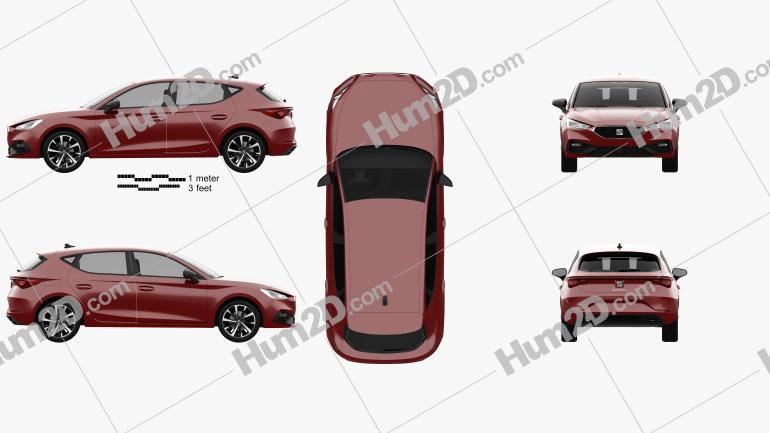 Seat Leon FR 5-door hatchback 2020 car clipart