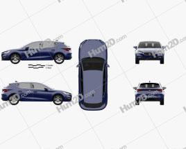 Seat Leon Xcellence 5-door hatchback 2020 car clipart