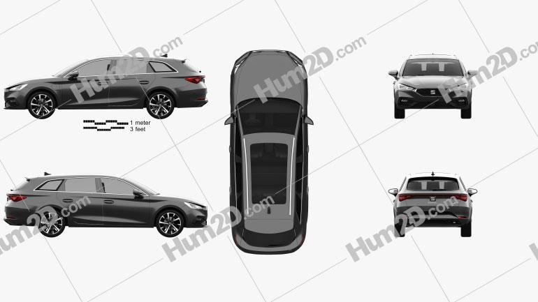 Seat Leon FR eHybrid sportstourer 2020 car clipart