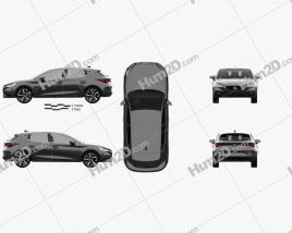 Seat Leon FR eHybrid 5-door hatchback 2020 car clipart